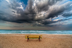 Colorful bench on a beach Royalty Free Stock Photo