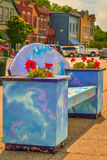 Colorful bench in Pewaukee, WI. Colorful bench with flowers at beach Stock Photography