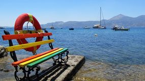 Colorful bench at the seaside Royalty Free Stock Image
