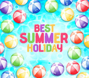 Colorful Best Summer Holiday with Many Beach Balls royalty free illustration