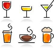Colorful beverage icon set Stock Images