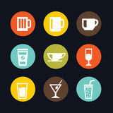 Colorful Beverages Glass and Cups Flat Icon Stock Photo