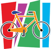 Colorful Bicycle. Stylized Bicycle on a multi colored background Stock Photo