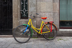 Colorful bicycle in Amsterdam. Royalty Free Stock Images