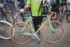 Colorful bicycle at Cyclopride 2014 in Milan, Italy Royalty Free Stock Image
