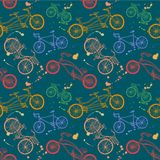 Colorful bicycle hand drawn seamless pattern. Vector seamless pattern with hand drawn bicycles on dark background Royalty Free Stock Photos