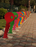 Colorful bicycle parking area Stock Photo
