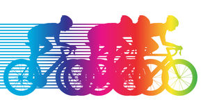 Colorful bicycle riding. Group of cyclists, road bike flat design, vectro illustration stock illustration