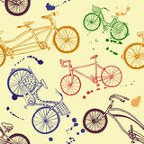 Colorful bicycle seamless pattern. Vector seamless pattern with hand drawn bicycles Royalty Free Stock Images