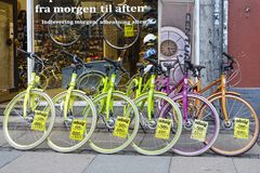 Colorful bicycles in Copenhagen. Colorful bicycles on a bicycle shop in Copenhagen, Denmark, Europe Stock Images