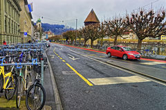 Colorful bicycles on the Reuss embankment Stock Image