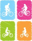 Colorful bicyclists icons set Stock Photos