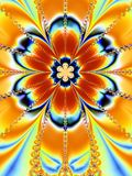 Colorful Big Flower Fractal. A symmetrical fractal flower with an explosion of colors in orange, blue and gold stock photos
