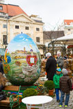 Colorful big painted Easter egg at the traditional market in Vienna stock photo