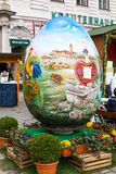 Colorful  big painted Easter egg at the Stock Image