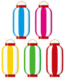 Colorful big paper lanterns (vertical stripes) Stock Photo
