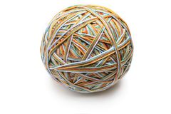 Colorful big thread ball from four color thread. Royalty Free Stock Images
