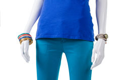 Colorful bijouterie with turquoise pants. Stock Images
