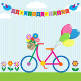 Colorful bike. With flowers and balloons Stock Photography