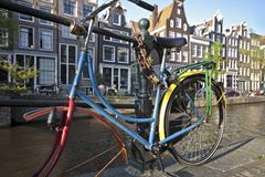 Colorful bike against a bridge Amsterdam Holland Royalty Free Stock Images