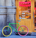 Colorful bike at the bakery Stock Photography