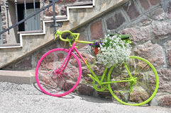 Colorful bike with flowers Royalty Free Stock Photo