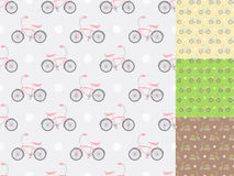 Colorful bikes. Four seamless patterns with bicycles in different colors Stock Photos