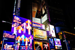 Colorful billboards at night in Times Square, Manhattan, New Yor Royalty Free Stock Photography