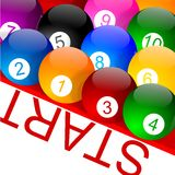 Colorful billiard balls with numbers on the grid Stock Image