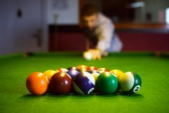 Colorful billiard balls. The colorful billiard or pool balls for snooker game are on green billiard table for starting the match stock photos