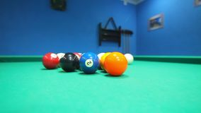 Colorful billiard balls on pool table. Game process. Billiards game starting. Green cloth table with colorful balls. Lighted billiard table with balls. Snooker stock video
