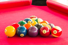 Colorful Billiard balls. On the table Stock Images