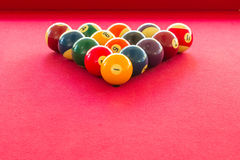 Colorful Billiard balls. On the table Stock Photos