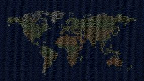 Colorful binary world map Stock Images