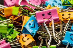 Colorful of binder clips Royalty Free Stock Photo