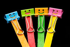 Colorful of binder clips on Ice cream sticks Stock Photos