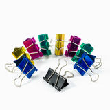 Colorful binder clips isolated on white Stock Photos