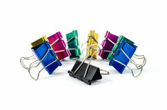 Colorful binder clips isolated on white Royalty Free Stock Image