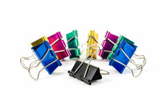 Colorful binder clips isolated on white Stock Image