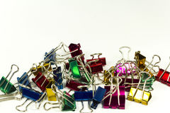 Colorful binder clips. Colorful metallic color binder clips Stock Images