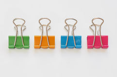 Colorful binder clips. On white background Stock Photography