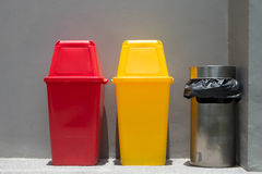 Colorful bins and smoke bin Stock Image