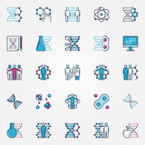 Colorful bio-tech icons Royalty Free Stock Photography