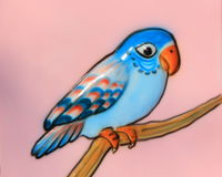 Colorful bird on branch. Glossy, decorative blue bird on branch Stock Images