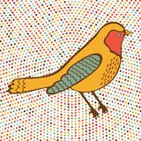 Colorful bird on dotted background Stock Images