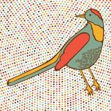 Colorful bird on dotted background Stock Photos