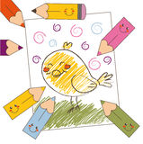 Colorful bird drawing. Color pencil drawing of a bird kid's style Stock Photo