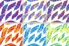 Colorful bird feathers seamless pattern set. doodle style.  Royalty Free Stock Photo