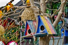 Colorful bird house. Royalty Free Stock Photo