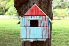 Colorful bird house. On the tree royalty free stock image